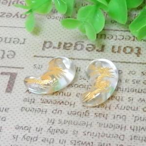 クォーツ(水晶) 勾玉 約12×19mm(龍彫り・金色) 001