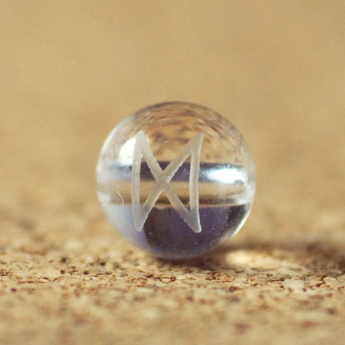 クォーツ(水晶) AAA ラウンド 6mm(ルーンDAEGダグ彫り)-1
