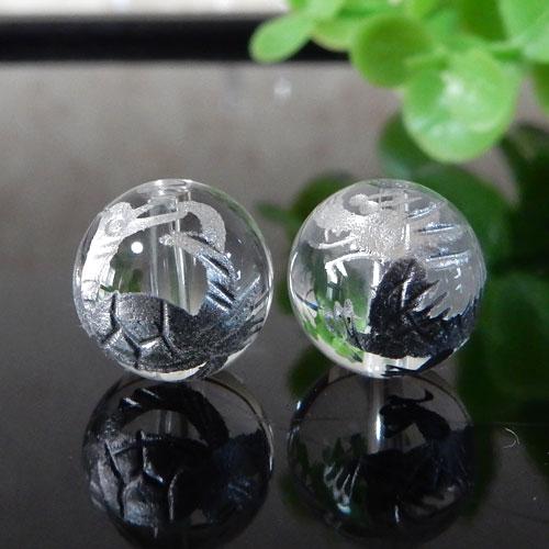 クォーツ(水晶) AAA ラウンド 10mm(四神彫・銀色)-0