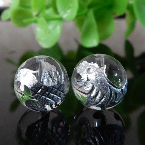 クォーツ(水晶) AAA ラウンド 10mm(四神彫・銀色)-1