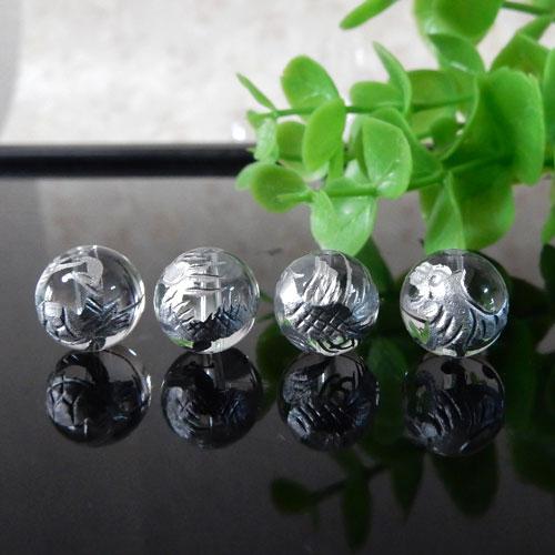 クォーツ(水晶) AAA ラウンド 10mm(四神彫・銀色)