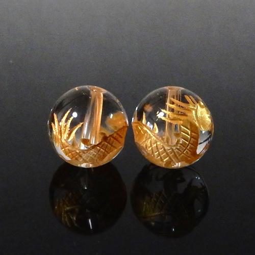 クォーツ(水晶) AAA ラウンド 10mm(龍彫り・金色)-0