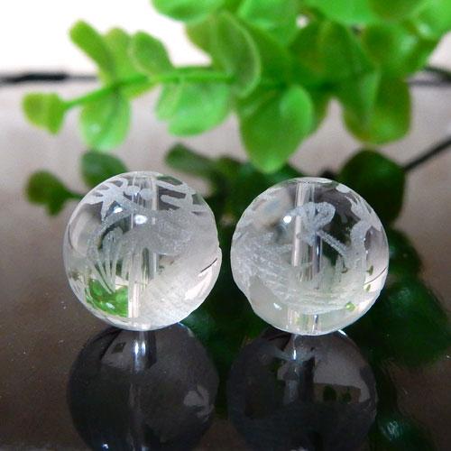 クォーツ(水晶) AAA ラウンド 12mm(龍彫り)-0