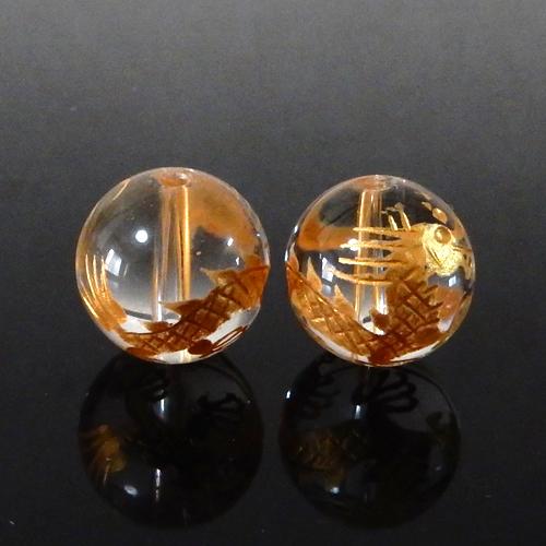 クォーツ(水晶) AAA ラウンド 12mm(龍彫り・金色)-0