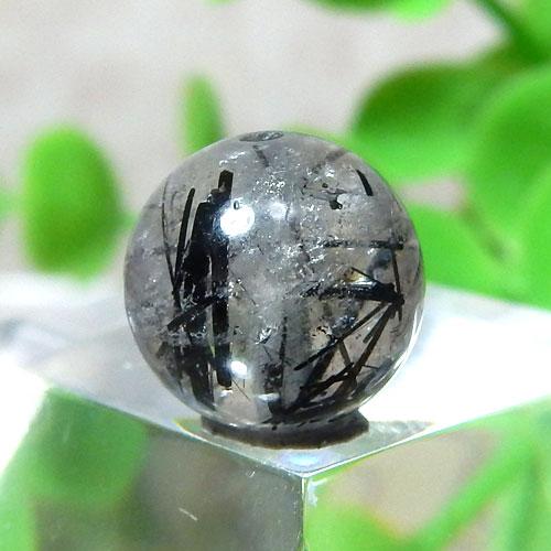 ブラックルチルクォーツ(トルマリンクォーツ) AAA- ラウンド 約9.2mm程度 019-0