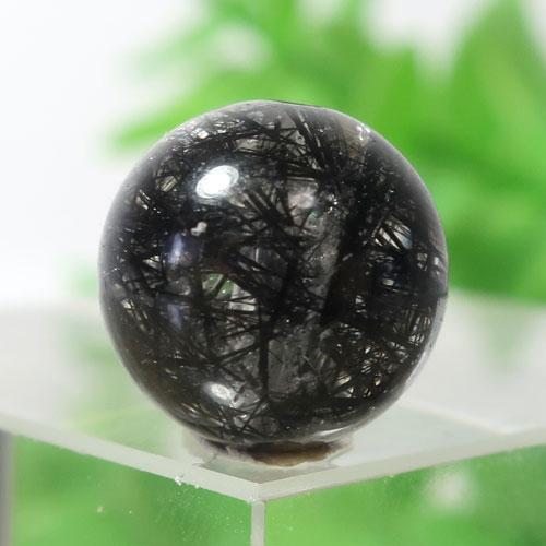 ブラックルチルクォーツ(トルマリンクォーツ) AAA- ラウンド 約9.9mm程度 120-0