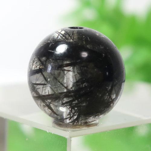ブラックルチルクォーツ(トルマリンクォーツ) AAA- ラウンド 約9.7mm程度 125-0
