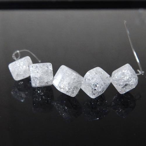 クラック水晶 キューブ 約6.5×6.5mm程度