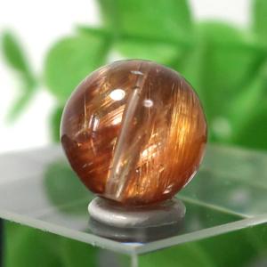 ブラウンオレンジルチルクォーツ AAA- ラウンド 約9mm程度 021