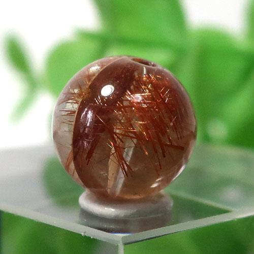 ブラウンオレンジルチルクォーツ AAA- ラウンド 約9.2mm程度 022-0