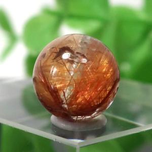 ブラウンオレンジルチルクォーツ AAA- ラウンド 約9.2mm程度 022
