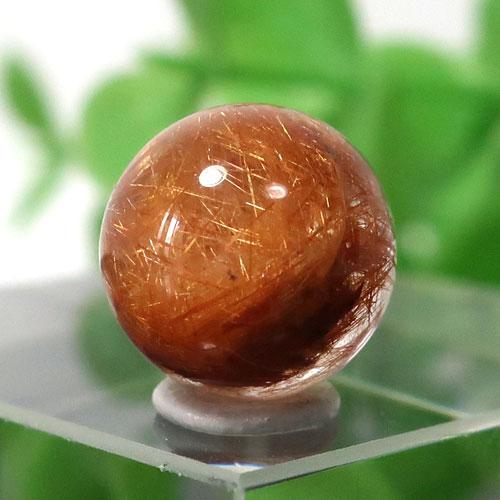 ブラウンオレンジルチルクォーツ AAA- ラウンド 約9.4mm程度 024
