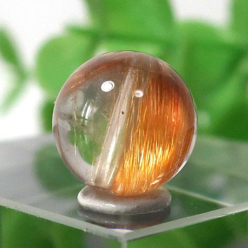 ブラウンオレンジルチルクォーツ AAA- ラウンド 約9.4mm程度 025
