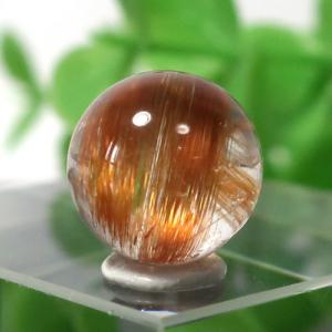 ブラウンオレンジルチルクォーツ AAA- ラウンド 約9.5mm程度 026