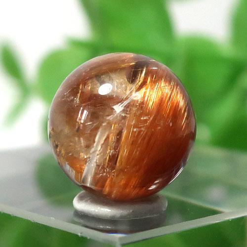ブラウンオレンジルチルクォーツ AAA- ラウンド 約9.5mm程度 027-0