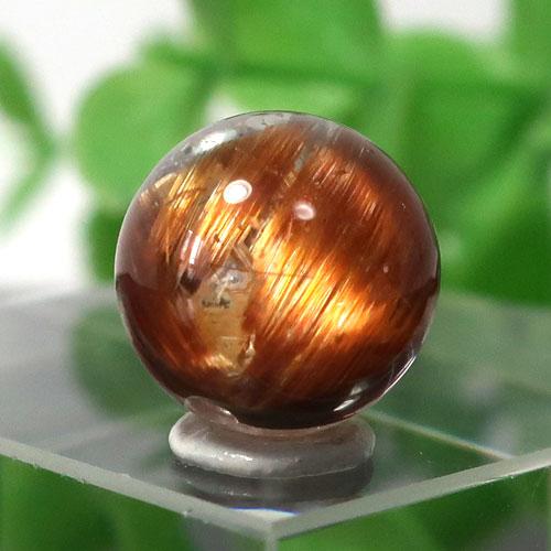 ブラウンオレンジルチルクォーツ AAA- ラウンド 約9.5mm程度 027