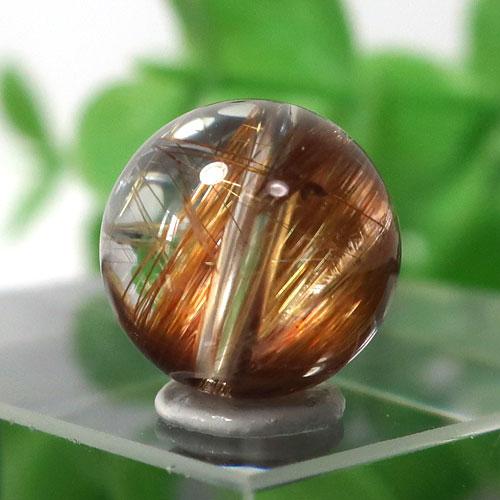 ブラウンオレンジルチルクォーツ AAA- ラウンド 約9.5mm程度 028-0