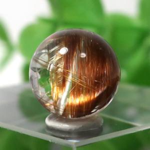 ブラウンオレンジルチルクォーツ AAA- ラウンド 約9.5mm程度 028