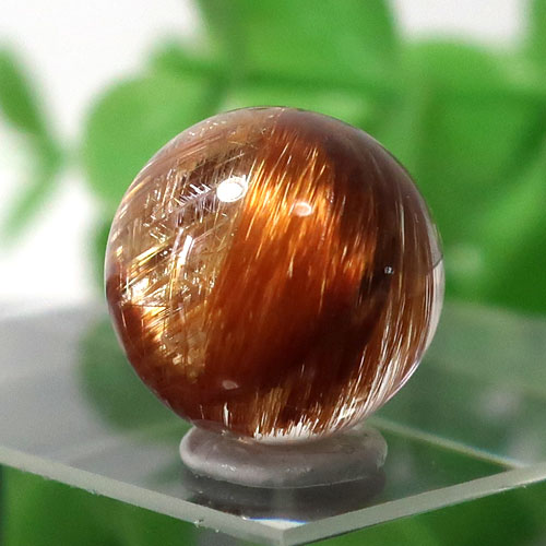 ブラウンオレンジルチルクォーツ AAA- ラウンド 約10mm程度 029