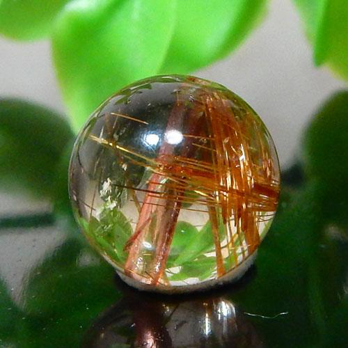 ブラウンオレンジルチルクォーツ AAA ラウンド 約10.5mm程度 003-0