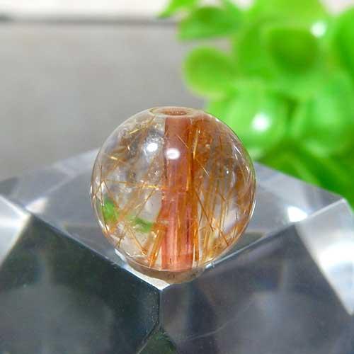 ブラウンオレンジルチルクォーツ AAA ラウンド 約10mm程度 011-0