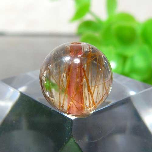 ブラウンオレンジルチルクォーツ AAA ラウンド 約10mm程度 012